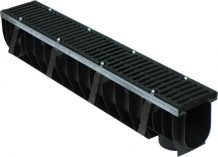 Комплект: Лоток водоотводный пластиковый MAX 100 с чугунными решетками