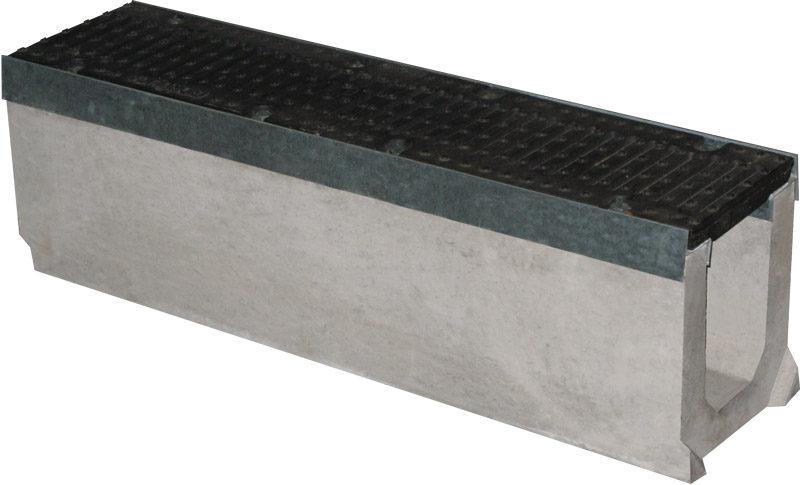 Лоток бетонный Max 150 (высота 310 мм) с чугунными решетками