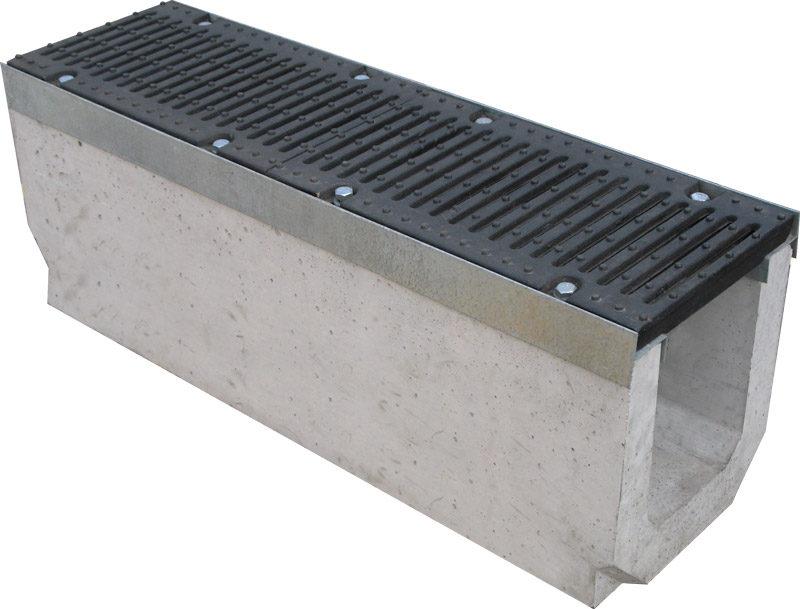 Лоток бетонный Max 200 (высота 280 мм) с чугунными решетками