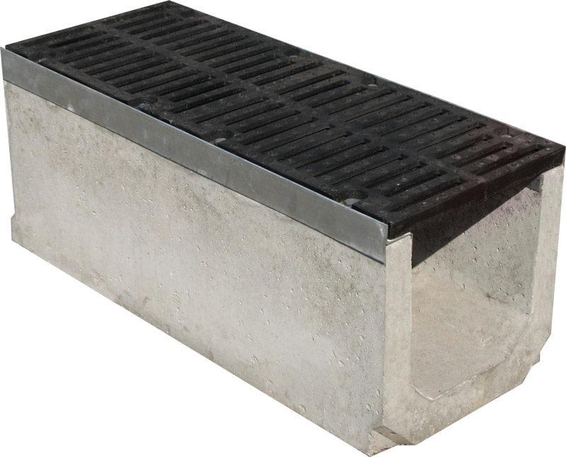 Лоток бетонный Max 300 (высота 410 мм) с чугунными решетками