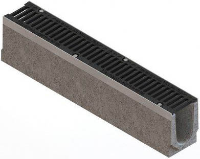 Лоток бетонный Max 100 (высота 165 мм) с чугунными решетками